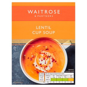 Waitrose Thick & Creamy spicy lentil soup in a cup, 4 servings