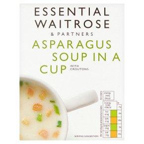 essential Waitrose asparagus soup in a cup, 4 servings