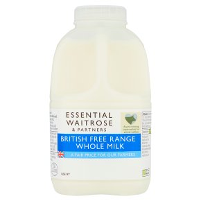 essential Waitrose whole milk 3.6% fat 1 pint