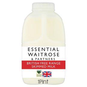 essential Waitrose skimmed milk 0.1% fat 1 pint