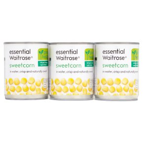 essential Waitrose canned sweetcorn crisp & sweet, 3 pack