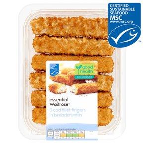 essential Waitrose MSC 6 chunky cod fillet fingers in breadcrumbs