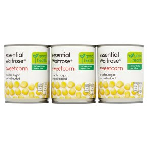 essential Waitrose canned sweetcorn in water sugar & salt added, 3 pack