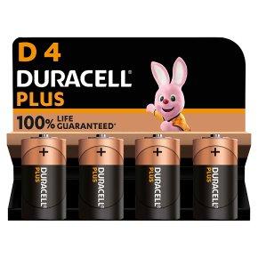 Duracell Plus Power D4 Batteries Alkaline