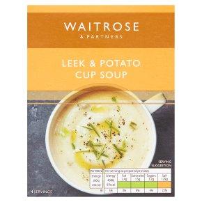 Waitrose Thick & Creamy potato & leek soup in a cup, 4 servings