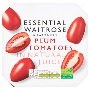 essential Waitrose Plum Tomatoes in Natural Juice