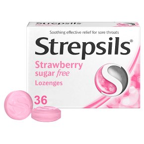 Strepsils 36 sugar free strawberry lozenges
