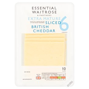 essential Waitrose English extra mature Cheddar, strength 6, 10 slices