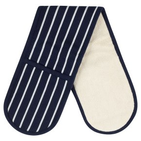 Waitrose Cooking blue butchers stripe double oven glove
