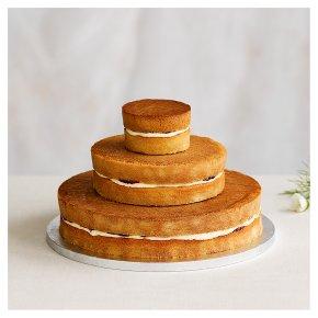 Naked 3 tier Wedding Cake, vanilla sponge (3 tiers)