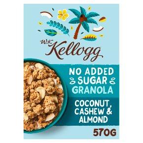 W K Kellogg No Added Sugar Coconut Granola