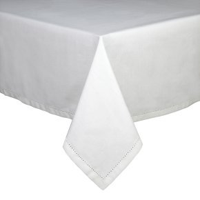 Waitrose 160x250cm white hemstitch tablecloth