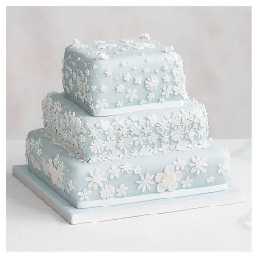 Blossom 3 Tier Pastel Blue Wedding Cake, Chocolate Salted Caramel (all tiers)