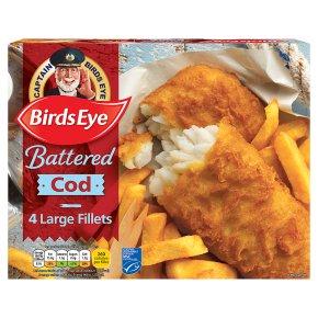 Birds Eye 4 Battered Cod Fish Fillets