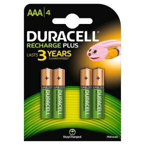 Duracell Rechargeable Duralock AAA Battery 750mAh NiMH