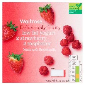 Waitrose 4 deliciously fruity strawberry / raspberry low fat yogurts