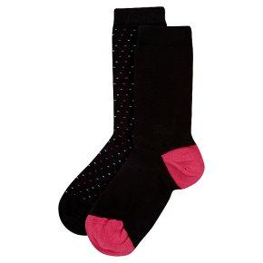 Waitrose Supersoft Black/Spot Ankle