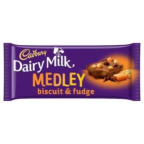 Cadbury Dairy Milk medley dark choc chip, biscuit & fudge chocolate bar