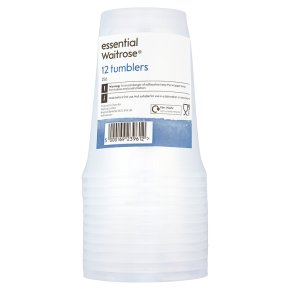 essential Waitrose 25cl clear tumblers, pack of 12
