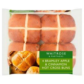 Waitrose 4 Apple & Cinnamon Hot Cross Buns