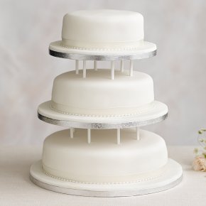 Soft Iced 3 Tier White Wedding Cake with Dowling, Fruit (all tiers)