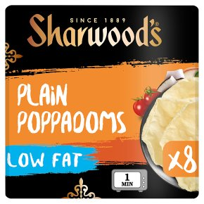 Sharwood's 8 Plain Poppadums Low Fat