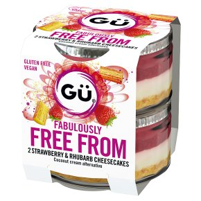Gu Free From Strawberry & Rhubarb Cheesecakes