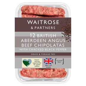 Waitrose 12 Aberdeen Angus beef & black pepper chipolatas