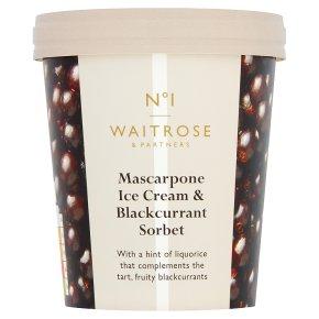 Waitrose 1 Mascarpone Ice Cream Blackcurrant Sorbet