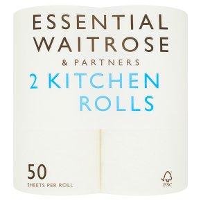 essential Waitrose 2 Kitchen Towels White