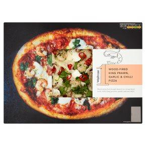 Waitrose 1 wood-fired king prawn, garlic & chilli pizza