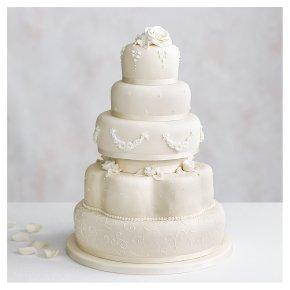 Grace Five Tier Ivory Wedding Cake (Rich fruit and chocolate sponge)