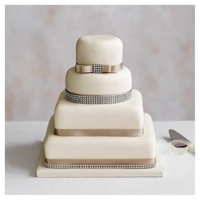 Diamante 4 Tier Ivory Wedding Cake  (Fruit, Golden and chocolate sponge)