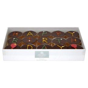 15 Chocolate Happy Birthday fairy cakes