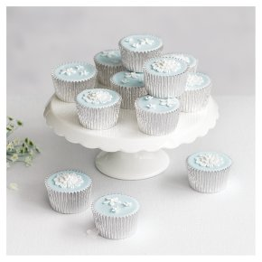 12 Fiona Cairns Blossom Golden Sponge Cupcakes – Pastel Blue