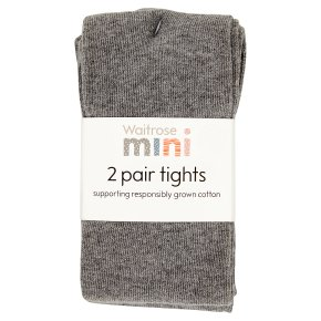 Waitrose 2pk Charcoal tights size:2-3yrs