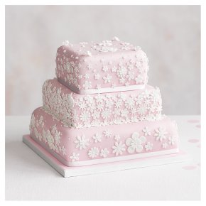 Blossom 3 Tier Pastel Pink Wedding Cake, Chocolate Salted Caramel (all tiers)