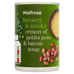 Waitrose cream of petit pois & smoked bacon soup
