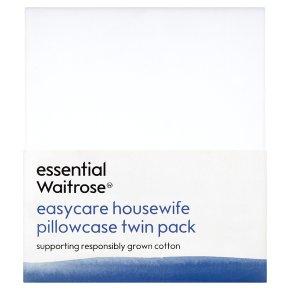 essential Waitrose Easycare Housewife Pillowcase Twin pack