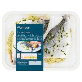 Waitrose boneless sea bream stuffed with peas, broad beans & feta