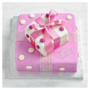 Two Tier Pink Parcel Cake