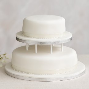 Soft Iced 2 Tier White Wedding Cake With Dowling Madeira Sponge