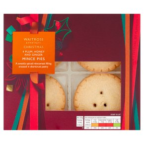 Waitrose Plum, Honey & Ginger Mince Pies 4 Pack