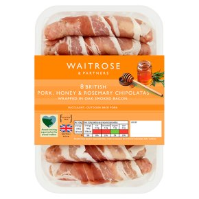 Waitrose 8 British honey & rosemary pork chipolatas in bacon