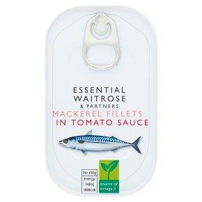 essential Waitrose MSC mackerel fillets in tomato sauce