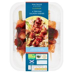 Waitrose 4 Teriyaki Salmon Kebabs