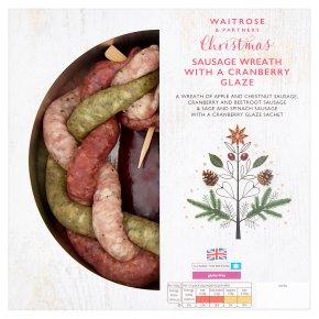 Festive Sausage Wreath with Cranberry Glaze