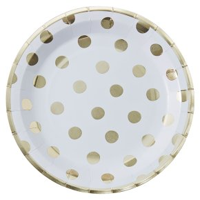 Ginger Ray Paper Plates Gold Spotty