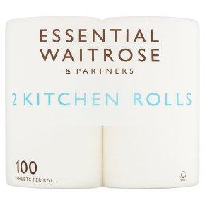 essential Waitrose 2 Kitchen Towels Extra Length Rolls