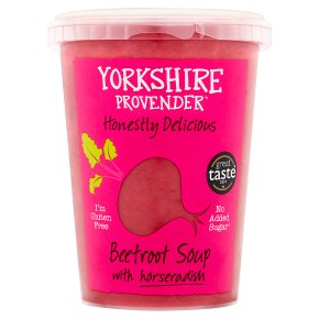 Yorkshire Provender beetroot with horseradish soup